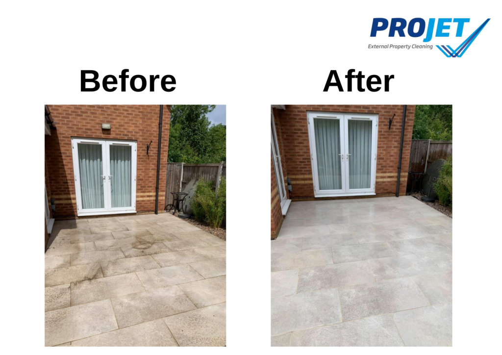 a before and after image showing dirty white patio slabs on the left and clean, bright white slabs on the left