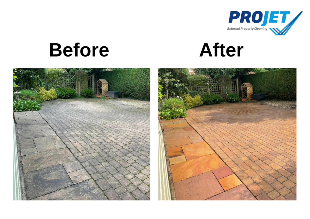 before and after of a patio with grey, dirty slabs on the left and then clean, orange slabs on the right